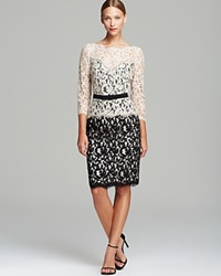 Tadashi Shoji Dress Three Quarter Sleeve Illusion Neck Lace