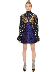 Kenzo Floral Printed And Tiger Jacquard Dress