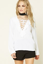 Forever 21 Ruffled Lace Up Top White