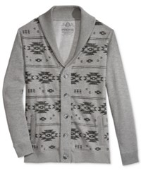 American Rag Men's Graphic Print Shawl Collar Cardigan Only At Macy's Pewter Heather