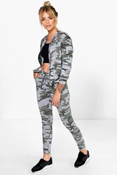 Boohoo Camo Jogger And Bomber Knitted Loungewear Set Multi