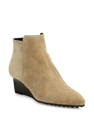 Tod's Suede Point Toe Wedge Booties Light Tobacco