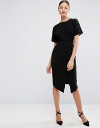 Asos Wiggle Dress With Lace Insert Black