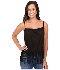 Roper 0427 Poly Slub Jersey Crop Halter Tank Top Black Women's Sleeveless