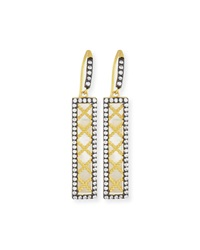 Freida Rothman 14K Vermeil Cz Crisscross Bar Drop Earrings