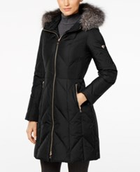 1 Madison Expedition Fox Fur Trim Chevron Hooded Down Puffer Coat Black