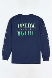10.Deep Split Sports Long Sleeve Tee Navy