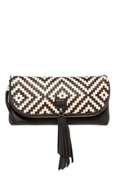Cole Haan Skylar Leather Woven Tassel Clutch Black