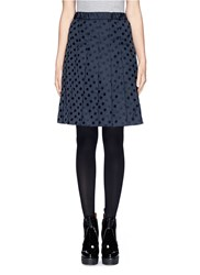 Moncler Elastic Waist Polka Dot Pleat Skirt Blue