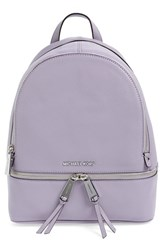 Michael Michael Kors 'Small Rhea Zip' Leather Backpack Purple Lilac Silver