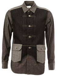 Ganryu Comme Des Garcons Patchwork Denim Shirt Grey