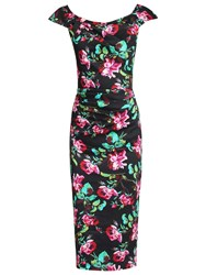 Jolie Moi Retro Floral Print Wiggle Dress Black Floral