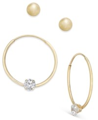 Macy's 2 Pc. Set Ball Stud And Cubic Zirconia Hoop Earrings In 10K Gold Yellow Gold