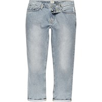 River Island Mens Light Blue Wash Dean Cropped Straight Jeans