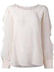 See By Chloe Ruffle Sleeved Blouse Pink Purple