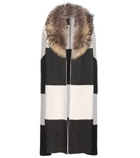 Burberry Cashmere And Wool Cape With Fur Black