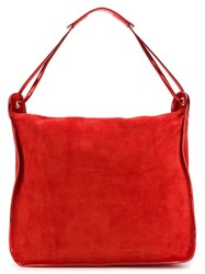 Maison Martin Margiela Mm6 Maison Margiela Metallic Handle Hobo Tote Red
