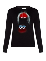 Fendi Bag Bugs Fur Embellished Sweater Black