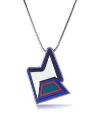 Avril Ziggy Easy Palladium Plated Brass And Multicolor Viscose Pendant Necklace