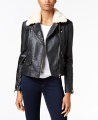 Buffalo David Bitton Faux Fur Trim Faux Leather Jacket Black