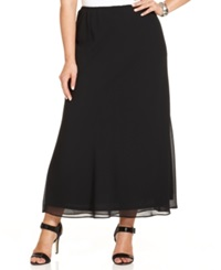 Msk Plus Size Chiffon Maxi Skirt Black