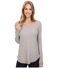 Dylan By True Grit Softest Slub Waffle Long Sleeve Seamed Thermal Crew Heather Women's Long Sleeve Pullover Gray
