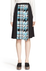 Creatures Of The Wind Plaid Front Stretch Wool Twill Skirt Black Turquoise