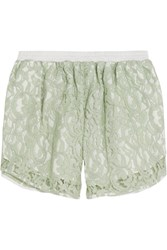 Carven Guipure Lace And Gingham Cotton Shorts Green