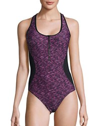 Calvin Klein Space Dyed Printed One Piece Swimsuit Mulberry