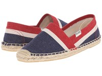 Soludos Original Heavy Woven Linen Mallorcan Stripe Navy Natural Red Women's Shoes Blue