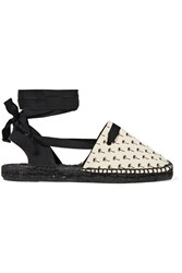Tomas Maier Printed Canvas Espadrille Sandals White