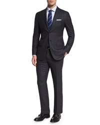 Kiton Plaid Sport Coat Charcoal Grey