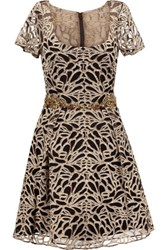 Marchesa Notte Embroidered Tulle Mini Dress Gold