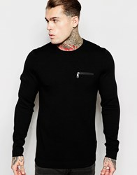 Asos Cotton Jumper With Chest And Arm Zip Pocket Black