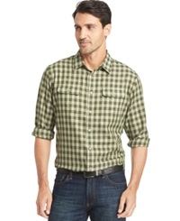 Van Heusen Long Sleeve Heathered Plaid Shirt Green Tea