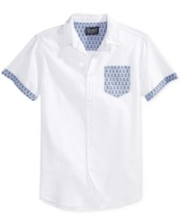Retrofit Men's Anchor Graphic Print Short Sleeve Pocket Shirt White