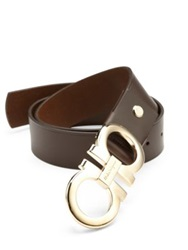 Salvatore Ferragamo Double Gancini Adjustable Leather Belt Hickory