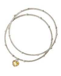 Judith Ripka Silver Heart Charm Bangle Bracelet Set Women's