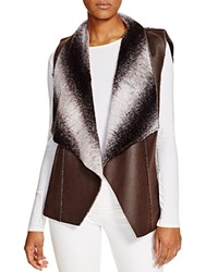 Sienna Rose Reversible Ombre Faux Fur Drape Vest Compare At 165 Brown