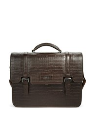 Hugo Boss Solitaire Embossed Leather Briefcase Medium Brown