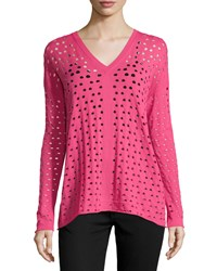 Lafayette 148 New York V Neck Eyelet Sweater Myrtle