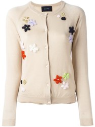 Simone Rocha Floral Embroidery Cardigan Nude And Neutrals