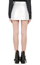 Paco Rabanne Women's Paper Leather Miniskirt Silver