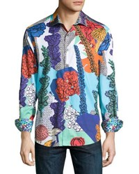 Robert Graham Wildflowers Woven Button Front Shirt Multi