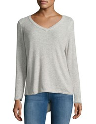 Democracy Asymmetrical Lace Up Sweater Heather