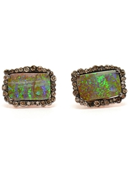 Kimberly Mcdonald Boulder Opal And Diamond Earrings Green
