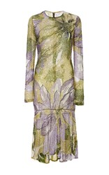 Naeem Khan Long Sleeve Beaded Floral Knee Length Dress Green Purple
