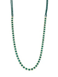 Ila Marley Green Onyx Emerald Diamond Sterling Silver And 14K Yellow Gold Long Necklace