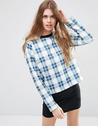Asos Sweatshirt In Check Print And Boxy Fit Multi