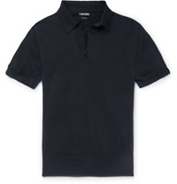 Tom Ford Knitted Cotton Polo Shirt Navy